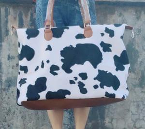 polaire imprimé vache Weekender sac fourre-tout avec cravate femmes poignée en cuir grande mode teinture polaire hiver sac à main léopard sac à bandoulière de cause à effet