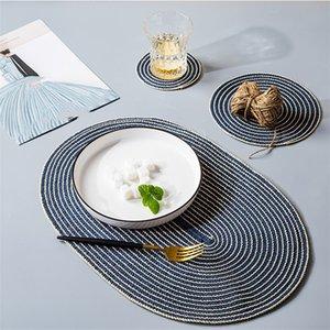 Круговая хлопка и пеньки плетеного столовые, водонепроницаемый горячее доказательство утеплитель, чашка тарелка коврик еды