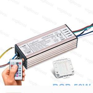 Éclairage Transformateurs RGB 50W 110-240V IP65 en aluminium argenté avec 24key Controller Accessoires pour Floodlight Spotlight DHL