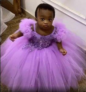 Сирень кружева бисером девушки цветка Dresse Спагетти бальное платье Маленькая девочка Свадебные платья Vintage причастия Pageant платья платья F122