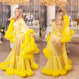 Женщины Winter Sexy Lady искусственного меха пижама Кимоно беременных женщины Халат Sheer Nightgown Желтый Мантия выпускной вечер Bridesmaid Шавли