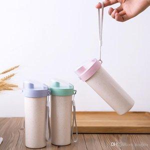 Toplu sürü Taşınabilir 14 oz Tek Duvar Kahve Kupalar ECO Dostu Buğday Straw Bento Termos Su Kapaklar Şarap Glass ile tumblers Fincan Şişe