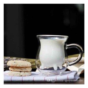 275ml Glass milk mug for juice crystal milk mug coffee cups drinkingware crystal mug 3 feet