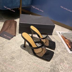 Bottega veneta sandals Лучшие площади Vintage Toe Stretch насосы Женщины золото Цепные Высокие каблуки 9,5 CoM Женщины Air Mesh дизайн Женская обувь Бесплатная доставка