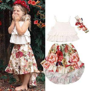 Ins Summer flower girls suits beach kids suits fashion girls outfits Tank Tops+long skirts+ headband 3pcs set girls clothes B1619