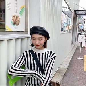 Black Beret Autumn and Winter Pu British Retro Painter Hat Korean Japanese Network Red All-match Pumpkin Hat Female Fashion