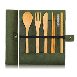 7pcs set Portable Cutlery Set Outdoor Travel Bamboo Flatware Set Knife Chopsticks Fork Spoon Straw Cloth Bag Dinnerware Sets YDL053