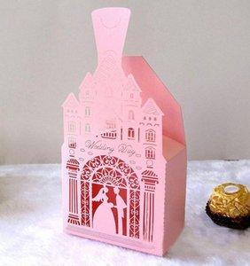 50шт замок Bride Groom лазерной резки полых конфеты коробки с лентой Сладких свадеб пользы для гостей свадебного подарка партии Box Supplies nefm #