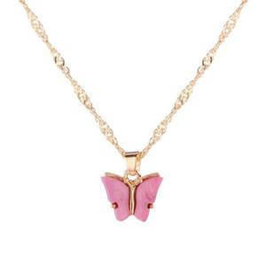 Colar de moda Colar da borboleta doce Acrílico Cor Doce Beleza Estilo Selvagem Clavícula Cadeia Personalidade