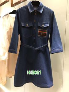 high end women girl single breasted denim dress letter embroidery applique multi pocket lapel neck skirt+belt 2020 fashion design dresses
