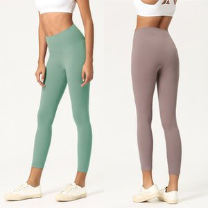 Pantaloni di yoga delle donne di colore solido Pantaloni ad alta vita Sport Gym Gym Leggings Elastico Fitness Lady Giordina Complessiva Collant Tights Workout Pantaloni da donna
