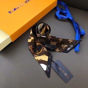 2020 Дизайнер шелковый шарф Мода стяжкой Luxury Brands Группы LOUIS VUITTON Женщины Шелковый Scraves Top Grade шелковый шарф волос 120 * 8 см M12