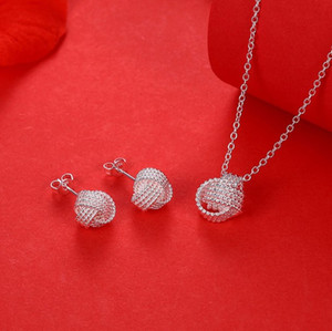 Hot Sale Wholesale Fashion Jewelry Set S925 stamp Silver color Rose Ball Slide Necklaces & Earrings Valentine's Day Gifts Bridal