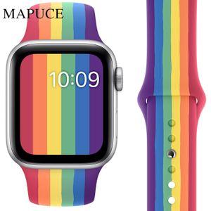 Neuer Regenbogen-Silikonarmband für Apple Uhrenarmband 44mm 42mm iwatch Serie 5 4 3 2 1 Armband 40mm 38mm pulseira Smart watchfree s