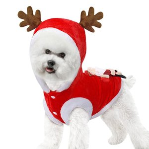 High Quality Puppy Holiday Apparel Outfit Dog Party Dress Up Hoodie Pet Reindeer Coat Christmas Elk Costume Dog Clothes Winter