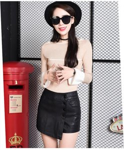 for Woman Casual Button Fly High Waist A-Line Leather Shorts Solid Color Shorts Winter Autumn PU Shorts