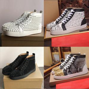 Zapatos casuales zapatos inferiores Spikes estilista tachonado Negro Rojo Blanco de cuero remaches rojo-top zapatos de gamuza zapatos planos mujeres de los hombres de moda