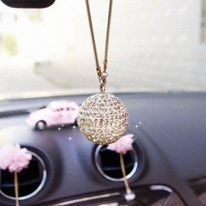 Specchio retrovisore Palla Automobile cruscotto Accessori auto regalo decorazione fortunata collana di cristallo Hanging ornamento Interno di casa sVlm #
