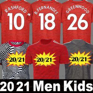20 21 Manchester United maglia da calcio MAN UTD RASHFORD POGBA BRUNO FERNANDES F.FERNANDES GREENWOOD 2020 2021 Uomo Kids kit magliette di alta qualità thailandia soccer jersey