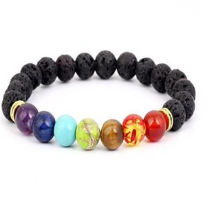 Black Lava Volcanic stone 7 Chakra Bracelet,Natural Stone Yoga Bracelet,Healing Reiki Prayer Balance Buddha Beads Bracelet . a693