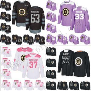 Uomo Donna Bambini su misura Boston Bruins 33 Zdeno Chara S-6XL 37 Patrice 63 Brad Mak 4 Bobby Orr Hockey maglie Practice Viola Rosa Salute Blank