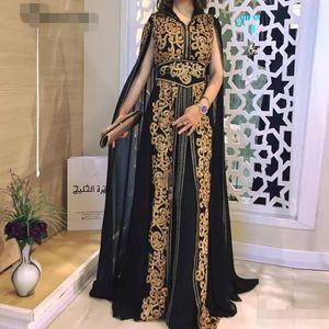 Preto Chiffon marroquina Kaftan ouro apliques de renda Jacket ocasião Vestidos Longo muçulmana Arábia Árabe Especial vestido de festa
