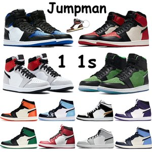 Jumpman 1 1s Hommes Basketball Chaussures Gris clair Smoke Tokyo Chicago Royale Bred Toe verni noir or blanc Obsidian UNC Sneakers