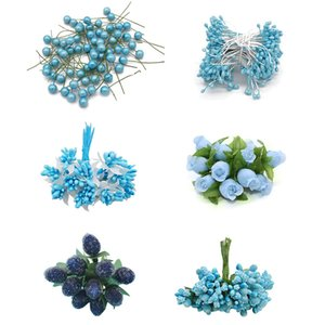 Bleu Mix hybride Fleur étamine Fruit cerise baies bricolage gâteau Décoration de Noël cadeau de mariage bricole Couronne Faux fleurs