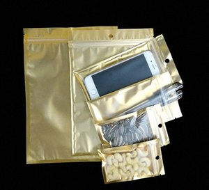 8*13cm 9*16CM 10*18cm Retail Packaging small zip plastic bags with hang hole, small gift packaging gold Bag 1sgL#