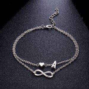 Boho Initial Fußkette Herz Unendlichkeit Silber-Farben-Knöchel-Armband auf Leg Kette 26 Brief Fußkettchen für Frauen-Knöchel-Strand Fuß Schmuck