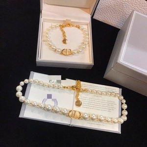 D family Di family new CD pearl necklace female Net Red CD letter pearl bracelet female light luxury High Texture