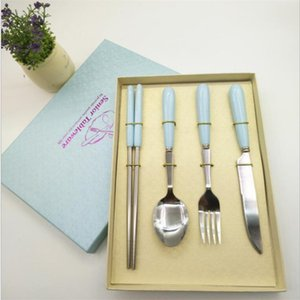 Exquisite Ceramic Handle Dinnerware Sets for Home Stainless Steel Forks Knives Classic Home Dinnerwares Spoon Fork Knife Chopsticks