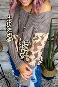 Tasarımcı Leopar Patchwork Triko Uzun Kollu O-Boyun Moda İlkbahar Sonbahar Giyim Kadın Casual Örme Triko Womens