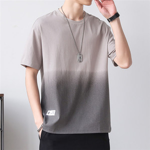 Gradient Loose T Shirt For Mens Summer Short Sleeve Crew Neck Teenager Hip Hop Tees Male Fashion Top