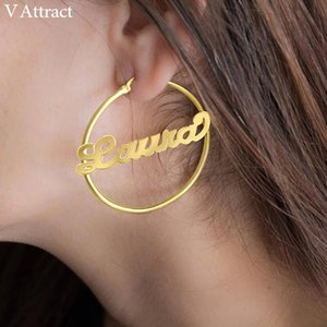 V Attract Custom Jewelry Personalized Name Large Earrings For Women Hiphop Brincos Stainless Steel Big Circle Round Bijoux Aros