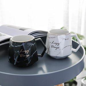 Nórdico taza de la taza de mármol Textura de cerámica de gran capacidad del té del café de bebida Copa P7Ding T200506