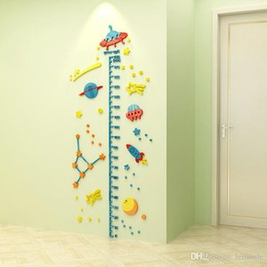 Baby Height Measure Ruler Wall Sticker 3D Universe Waterproof Decorative Kids Growth Chart Children Bedroom Home Decoration 20 sets