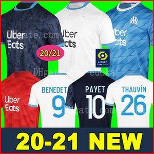 20 21 أولمبيك مرسيليا لكرة القدم جيرسي OM 2020 2021 مايوه دي القدم الذكرى ال120 باييت THAUVIN الرجال الأطفال عدة maillots قميص كرة القدم