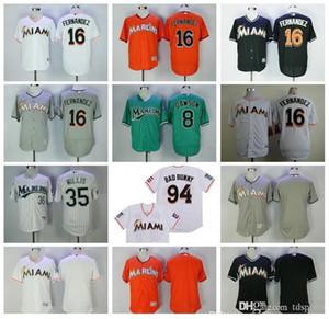 Hommes Femmes Enfants Vintage Baseball 16 Jose Fernandez Jersey Retire 94 Bad Lapin Jersey Avec Drapeau de Portoricain de 35 Dontrelle Willis Andre Dawson
