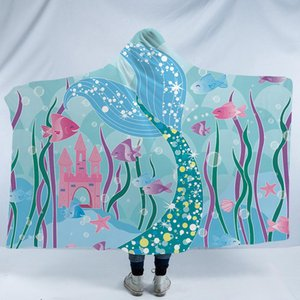 Mermaid Hooded Blanket For Home Travel Picnic Cartoon 3D Printed Portable Blanket Wearable Warm Throw For Adults Childs xN6B#