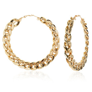 Retro Large Hoop Earrings Hip-Hop Gold Silver Big Circle Studs Earrings For Women Punk Party Fashion Jewelry