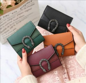 20SS free shipping Wallet Small Wallet Female Change Wallet Red Black Green Brown Pure Color Hot Sale Mini Womens Short Retro Fold
