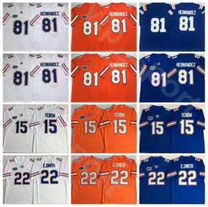 Колледж Флорида Gators Футбол 22 Emmitt Смит Джерси 81 Аарон Hernandez 15 Тим Тибо университет дышащий Все прошитой Оранжевый Белый Синий