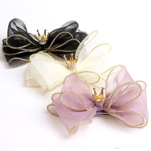 Baby Girls Barrette Kids Bokwnot Barrettes Children Three-layer Organza Bowknot Crown Hairpins Hair Clip Hair Accessory