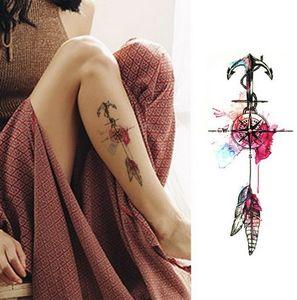Donne Fashion Girl Temporary Tattoo Sticker Black Roses Design Fiore completa Braccio Body Art Grande Grande falso autoadesivo del tatuaggio
