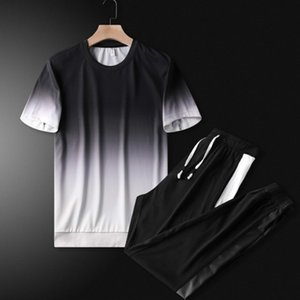 Men Sports Suits Tracksuits 2020 New Trendy Handsome Two Pieces Suits Fashion 2020 Mens Sportwear Casual Tshirts +Pants Active Clothing Sets