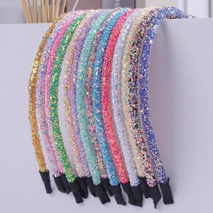50pc / lot cabelo Acessórios Chunky Glitter hairband para a menina Mulheres Meninas Headband doce cor Glitter Hairbands Cabelo Acessórios Y200710