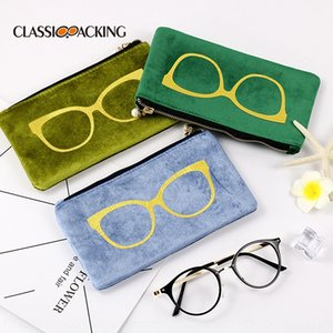 High-end fashion Korean flannel sun glasses bag hipster portable zipper sunglasses bag new style