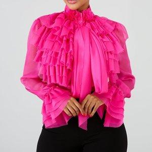 Plain Falbala Long Sleeve Blouse Women 2019 Summer Pink Ruffles Tops Blouse Female Plus Size Office Lady OL Elegant Lady Shirts CX200714