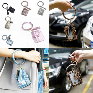 Leopard Leather Style Wallet Women DA529 Hot Tassel Card Favor Keychain Clutch Wristlet Keyring Party Bag 6 Bracelet PU Njusx